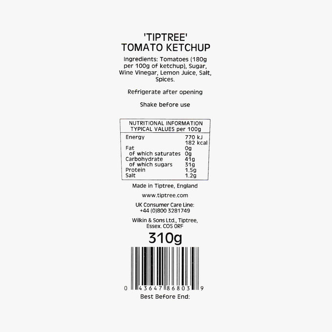 Tiptree tomato ketchup Wilkin & Sons