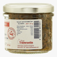 Crushed olive, peanut and thyme Rue Traversette