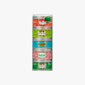 Assortment of 5 miniature tins of flavoured green teas Kusmi Tea