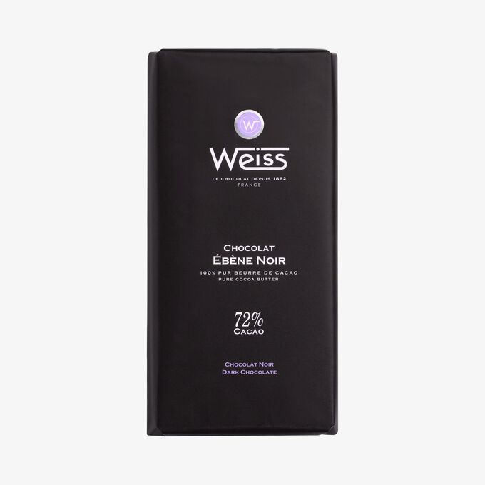 Tablette Ebene chocolat noir 72% Weiss