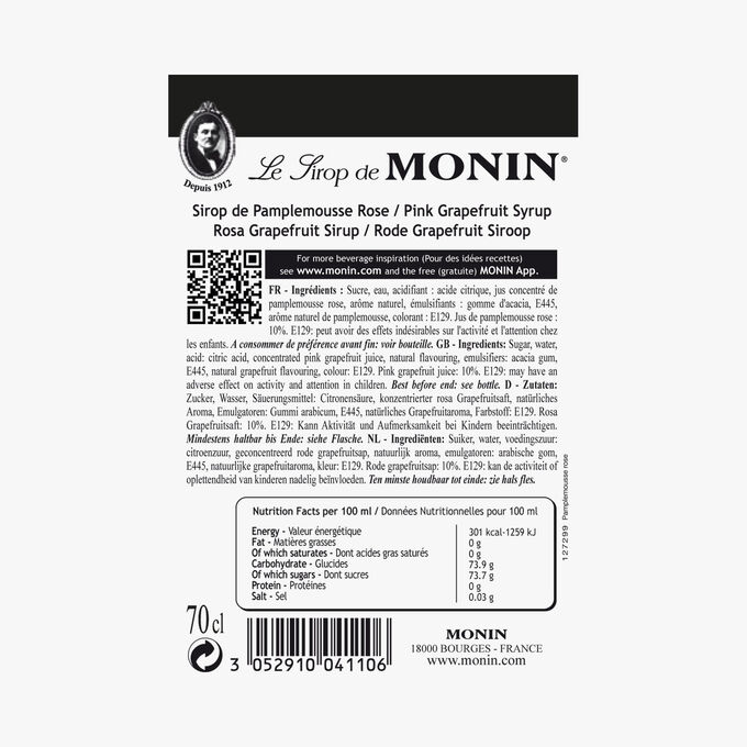 Sirop de pamplemousse rose Monin