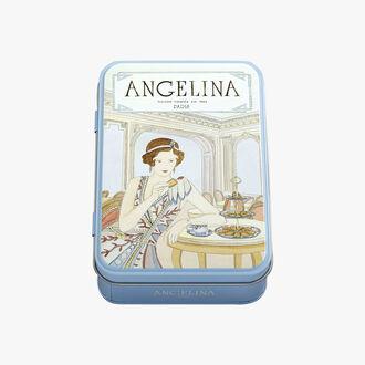 Crêpes dentelle enrobées de chocolat noir, boîte en  fer 70g Angelina