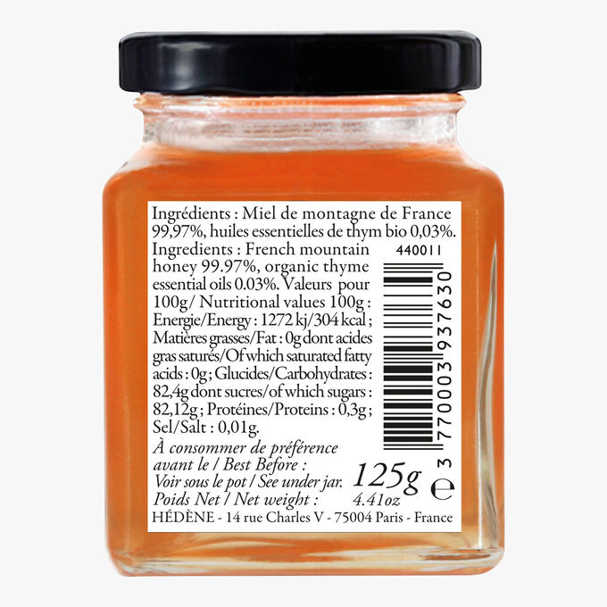 Préparation miel montagne aux huiles essentielles de thym Hédène