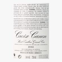 Croix Canon, AOC Saint-Emilion grand cru, 2012 Croix Canon