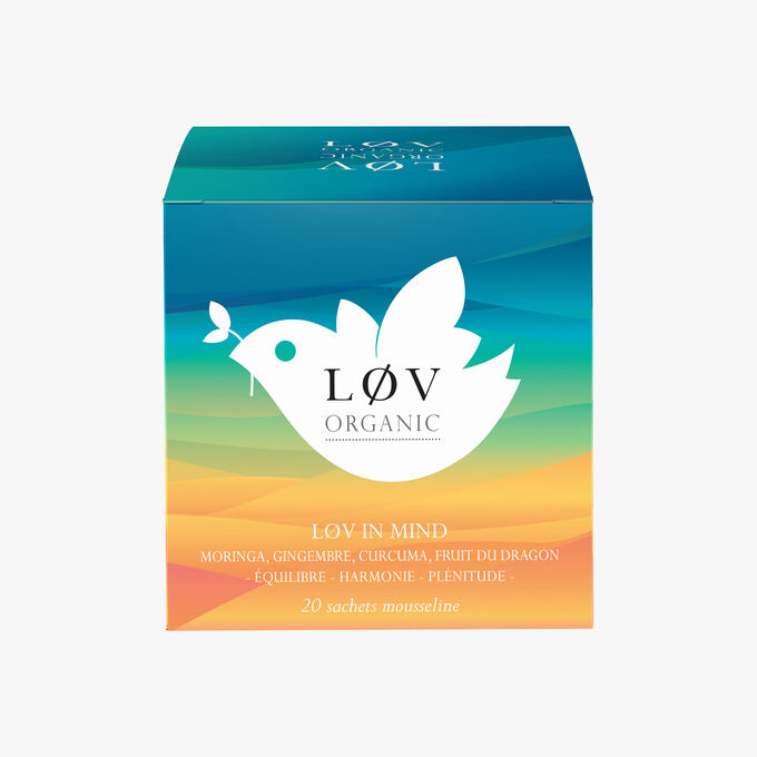 Lov in Mind, a box of 20 muslin tea bags of Moringa, Ginger, Turmeric, Dragon fruit Lov Organic