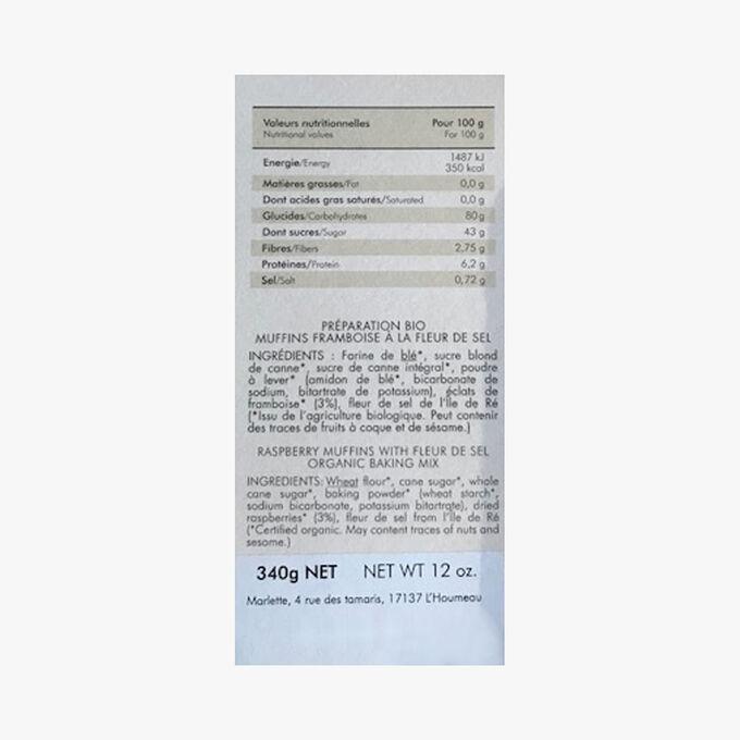 Préparation bio pour muffins framboises à la fleur de sel de l'Ile de Ré Marlette