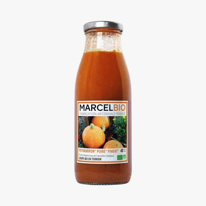Organic red kuri squash, pear and chili soup Marcel Bio