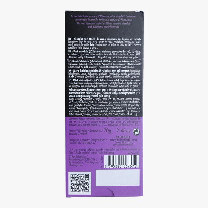 Tablette Abinao, chocolat noir (85% de cacao minimum, pur beurre de cacao) Valrhona