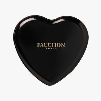 Boîte cœur noire, chocolat noir Fauchon