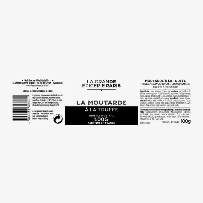 Moutarde à la truffe (Tuber melanosporum, Tuber brumale) La Grande Épicerie de Paris