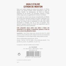 Huile d'olive vierge extra et extrait naturel de citron de Menton A l'Olivier