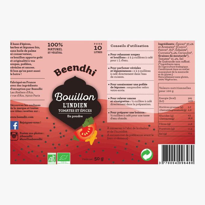 L'Indian stock powder, tomatoes and spices Beendhi