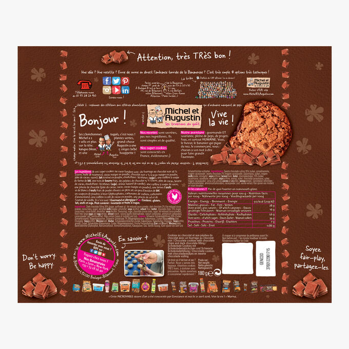 Super cookies cœur fondant au chocolat noir et pépites de chocolat Michel et Augustin