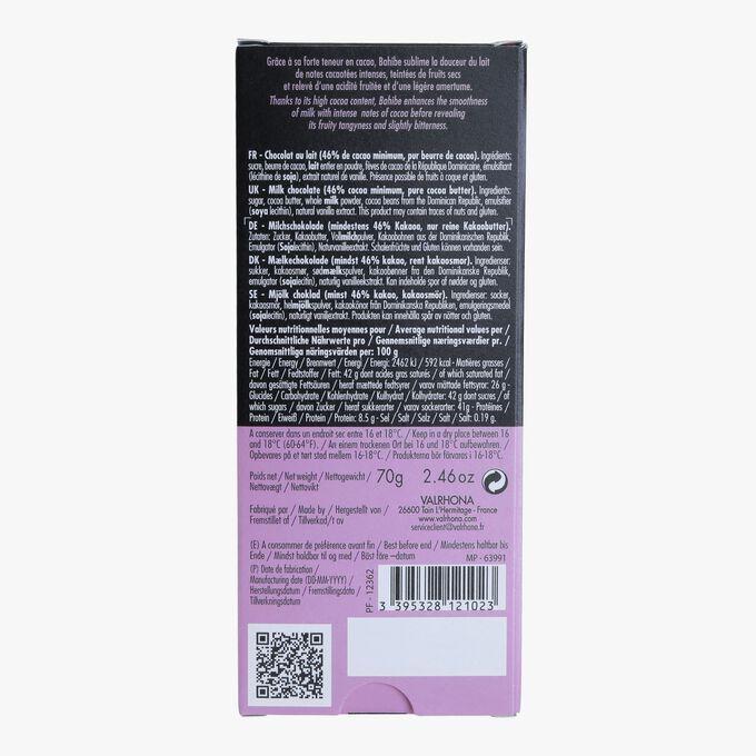 Tablette Bahibe, chocolat au lait (46% de cacao minimum, pur beurre de cacao) Valrhona