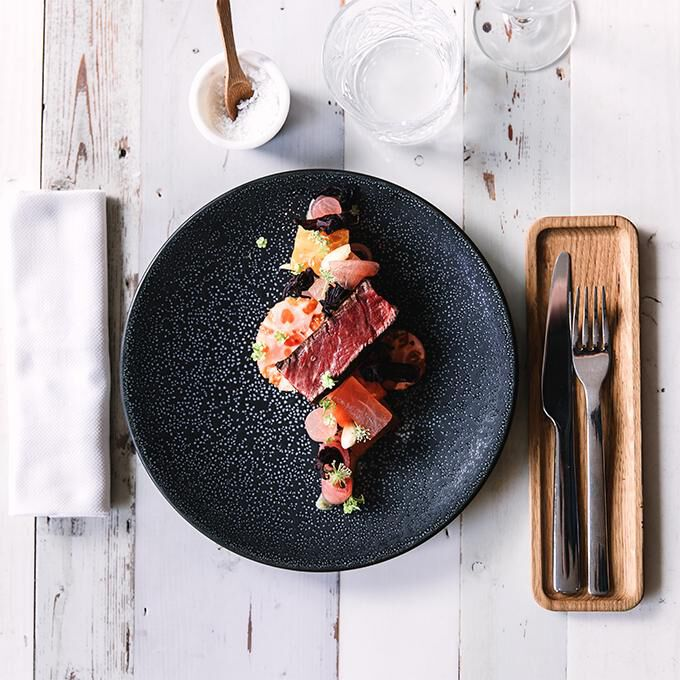 Fillet of beef with heirloom tomatoes and watermelon Recette proposée par Beatriz Gonzalez