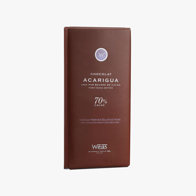 Dark chocolate bar 70 % with cocoa bean nibs Weiss