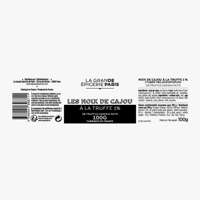 Noix de cajou à la truffe 1% (Tuber melanosporum) La Grande Épicerie de Paris