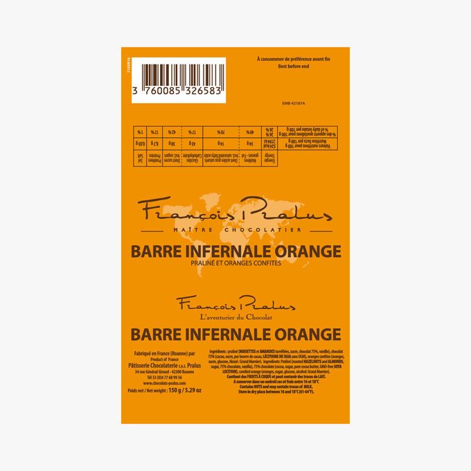 Orange infernal bar Pralus