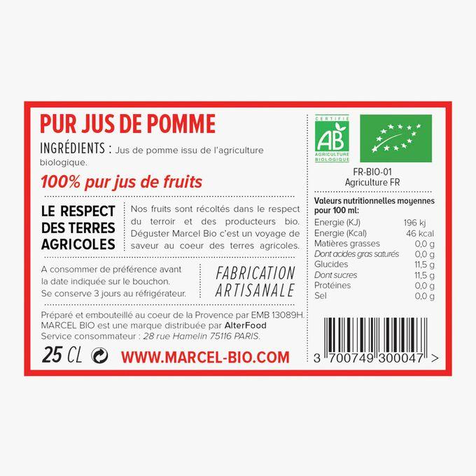 Organic pure apple juice Marcel Bio