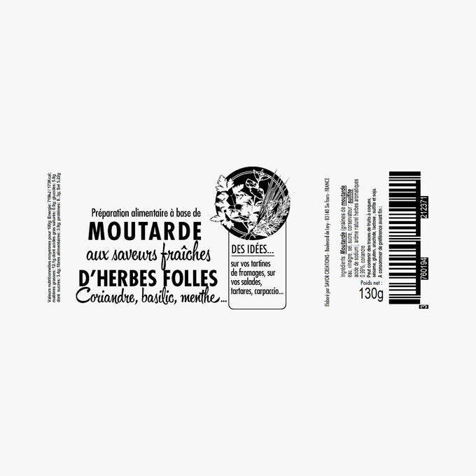 Moutarde herbes folles, saveur coriandre, basilic, menthe Savor & Sens