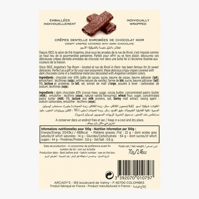 Crisp rolled biscuits (crêpes dentelles) coated with dark chocolate, 70 g tin Angelina
