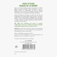 Huile d'olive vierge extra et extrait naturel de basilic de la Drôme A l'Olivier