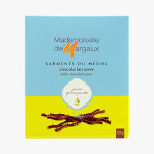 Milk chocolate twigs flavoured with pear Mademoiselle de Margaux