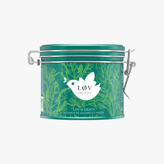 Lov is Green, an infusion of vegetables and fruits in a metal tin Lov Organic