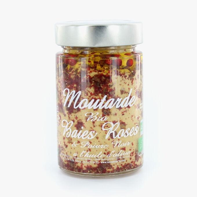 Moutarde bio baies roses et poivre noir à l'huile d'olive Savor & Sens