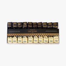 Duo de pralinés noisettes du Piémont, chocolat blanc et chocolat noir Angelina