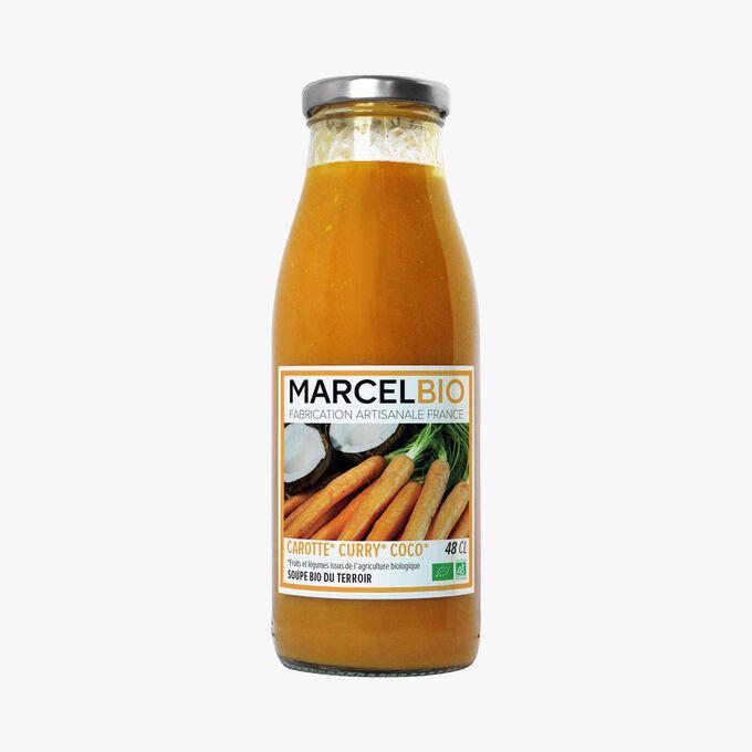 Soupe bio carotte, curry, coco Marcel Bio