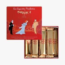 16 cigarettes feuilletées fourrées chocolat noisettes Maxim's