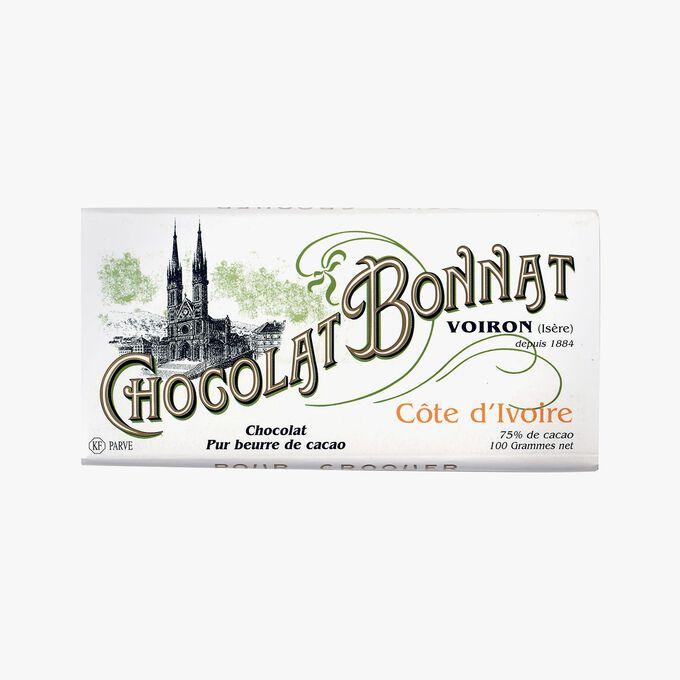 Tablette Côte d'Ivoire Chocolat noir 75% de cacao Bonnat