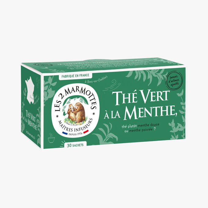 Thé vert à la menthe, 30 sachets Les 2 marmottes
