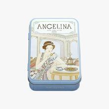 Boîte en fer crêpes dentelles enrobées de chocolat noir Angelina