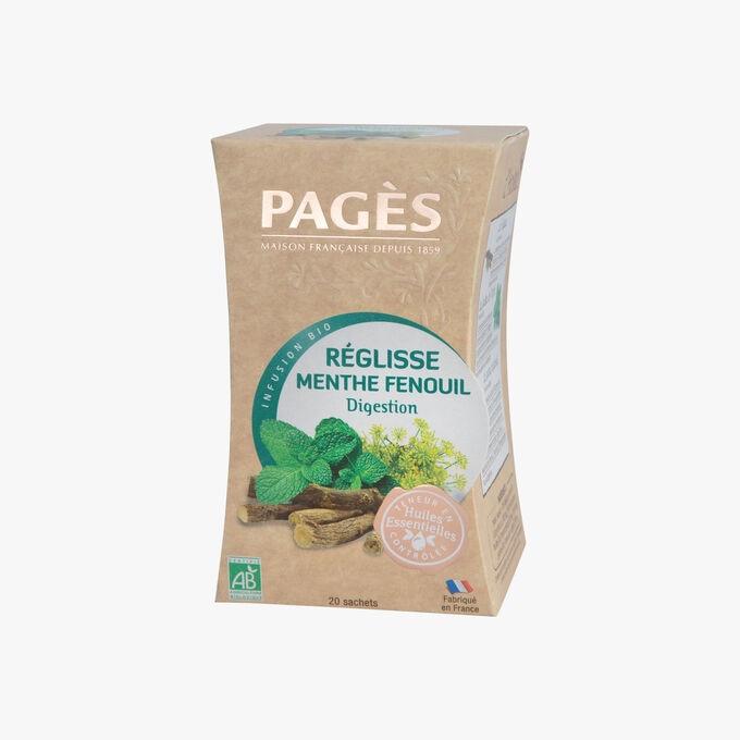 Infusion bio réglisse menthe fenouil, digestion Pagès