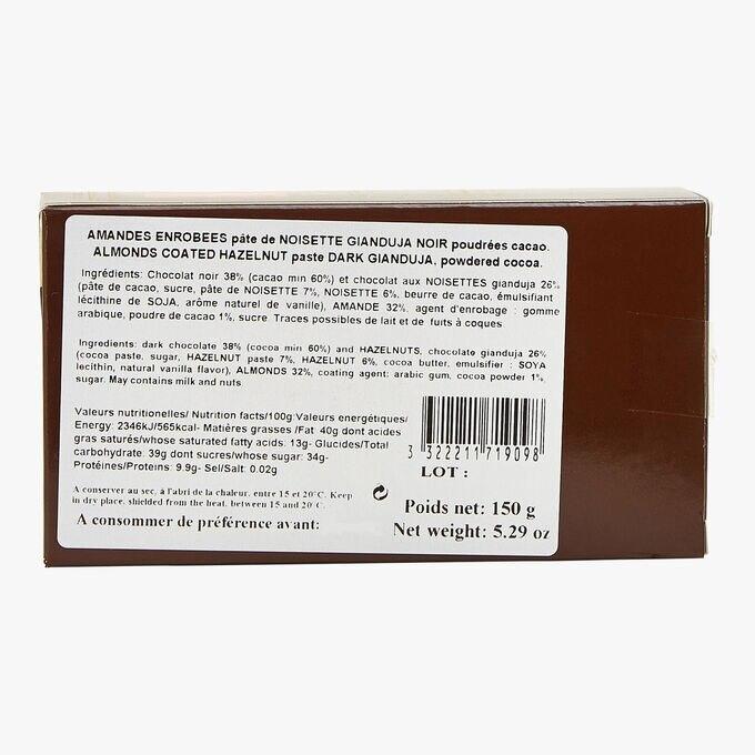 Dark chocolate-coated almonds, Gianduja dark hazelnut paste, dusting of cocoa powder Reynaud