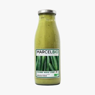 Organic cucumber, mint and lemon soup Marcel Bio