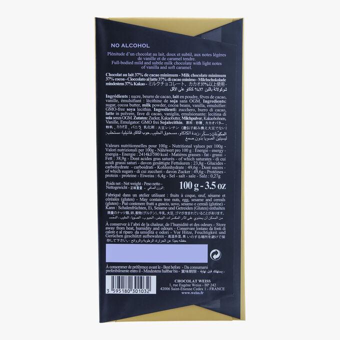 Tablette chocolat au lait 37% Weiss