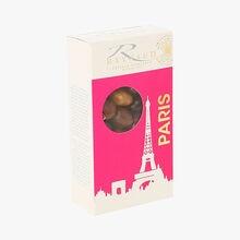 Amandes enrobées de chocolat noir, lait et crème de nougat Reynaud