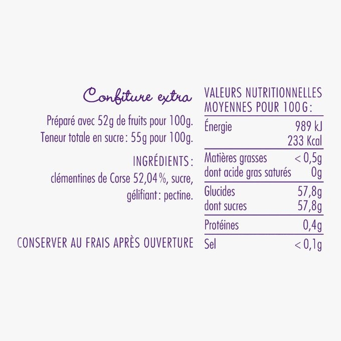 Corsican clementine extra jam La Cour d'Orgères
