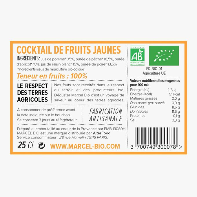 Organic yellow fruit cocktail Marcel Bio