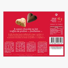 8 milk chocolate truffle hearts with crispy praline Maxim's