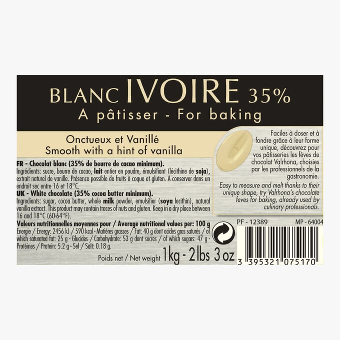 Blanc Ivoire, white cooking chocolate 35 % Valrhona