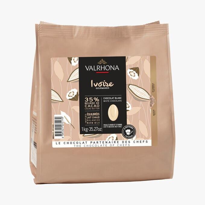 Blanc Ivoire, chocolat blanc 35%, à pâtisser Valrhona