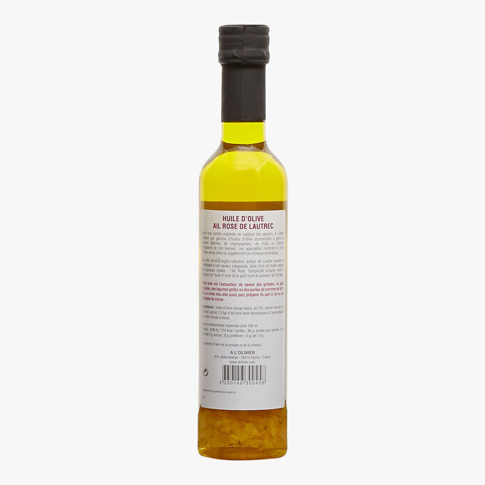 Extra virgin olive oil with a natural extract of Lautrec pink garlic A l'Olivier