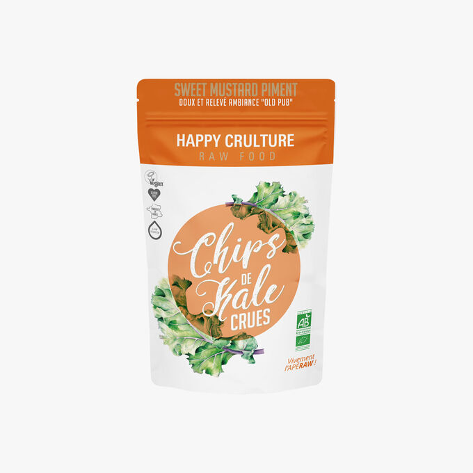 "Chips de kale crues, ""sweet mustard piment"" Happy Crulture"