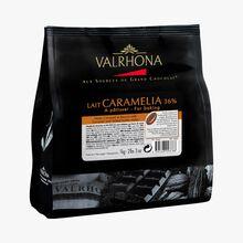 Chocolat de couverture au lait (36 % de cacao minimum, pur beurre de cacao) Caramelia Valrhona