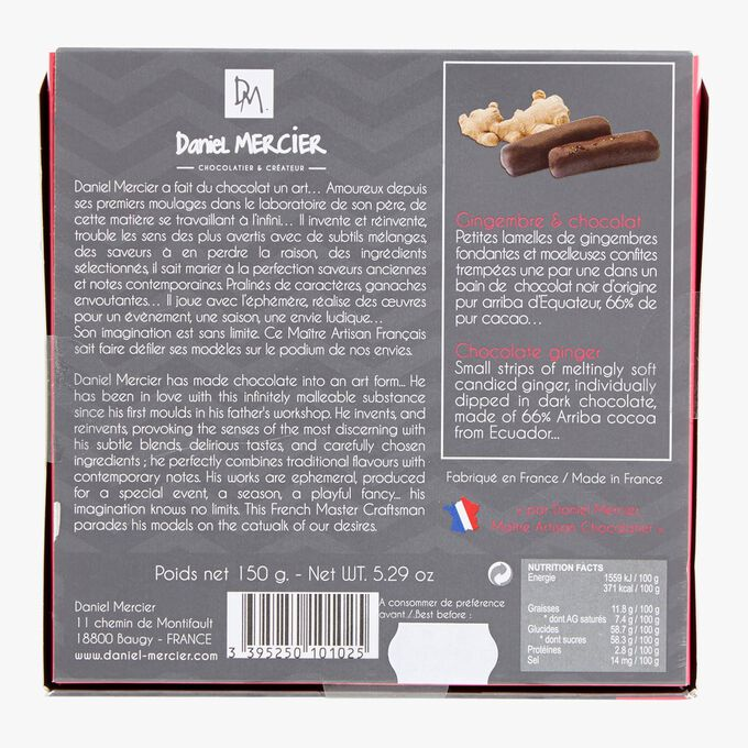 Candied ginger and dark chocolate strips Daniel Mercier