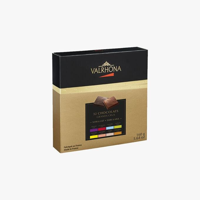 Boîte Dégustation Grands Crus, 32 carrés de chocolat Valrhona